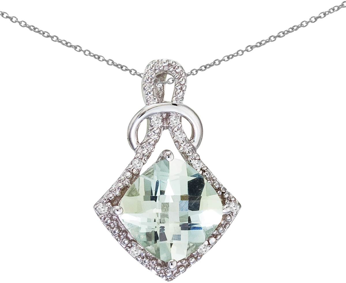 14K White Gold Green Amethyst and Diamond Shape Pendant (Chain NOT included)