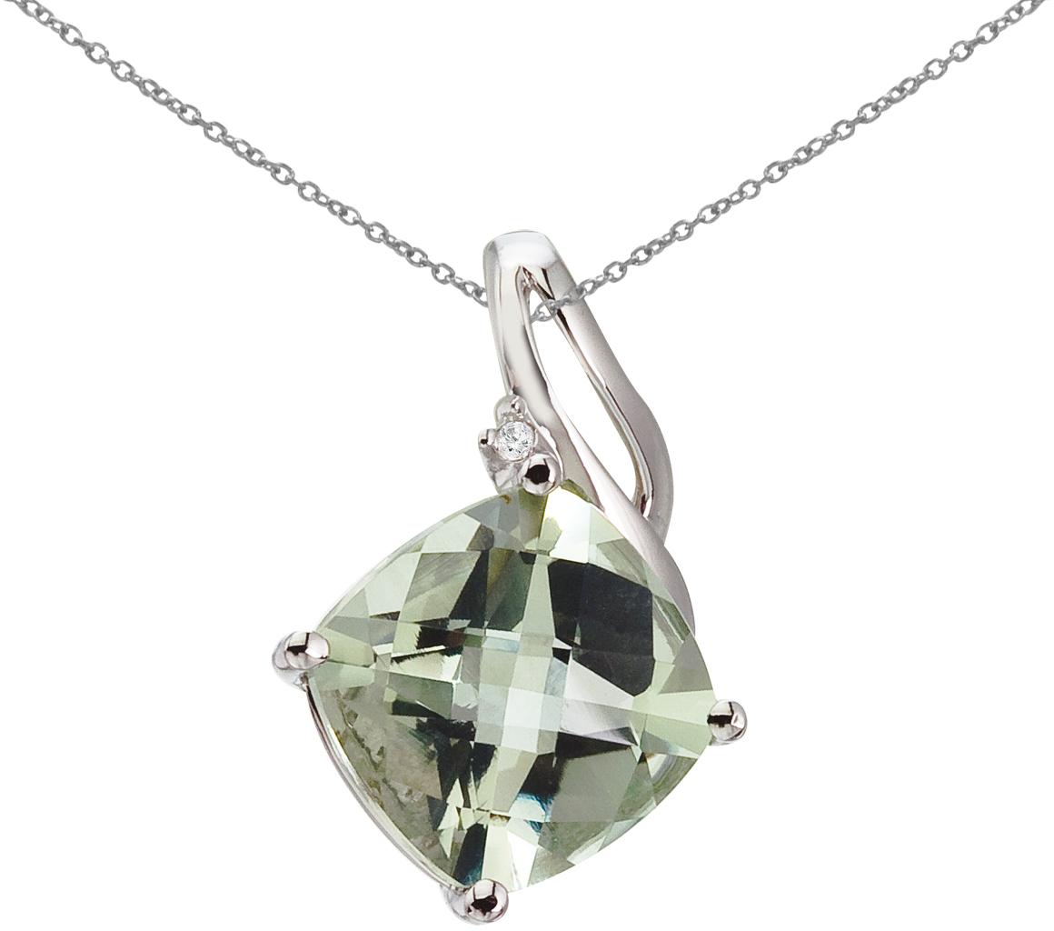 14K White Gold Green Amethyst and Diamond Pendant (Chain NOT included) (CM-P2814W-GA)