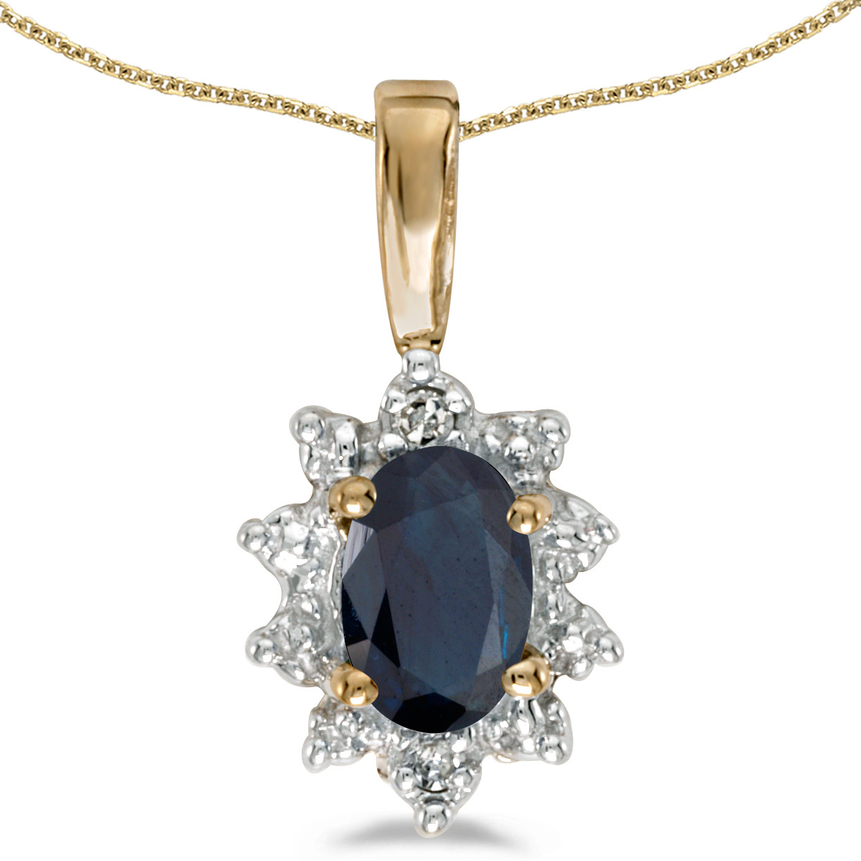 10k Yellow Gold Oval Sapphire And Diamond Pendant (Chain NOT included) (CM-P5055-09)