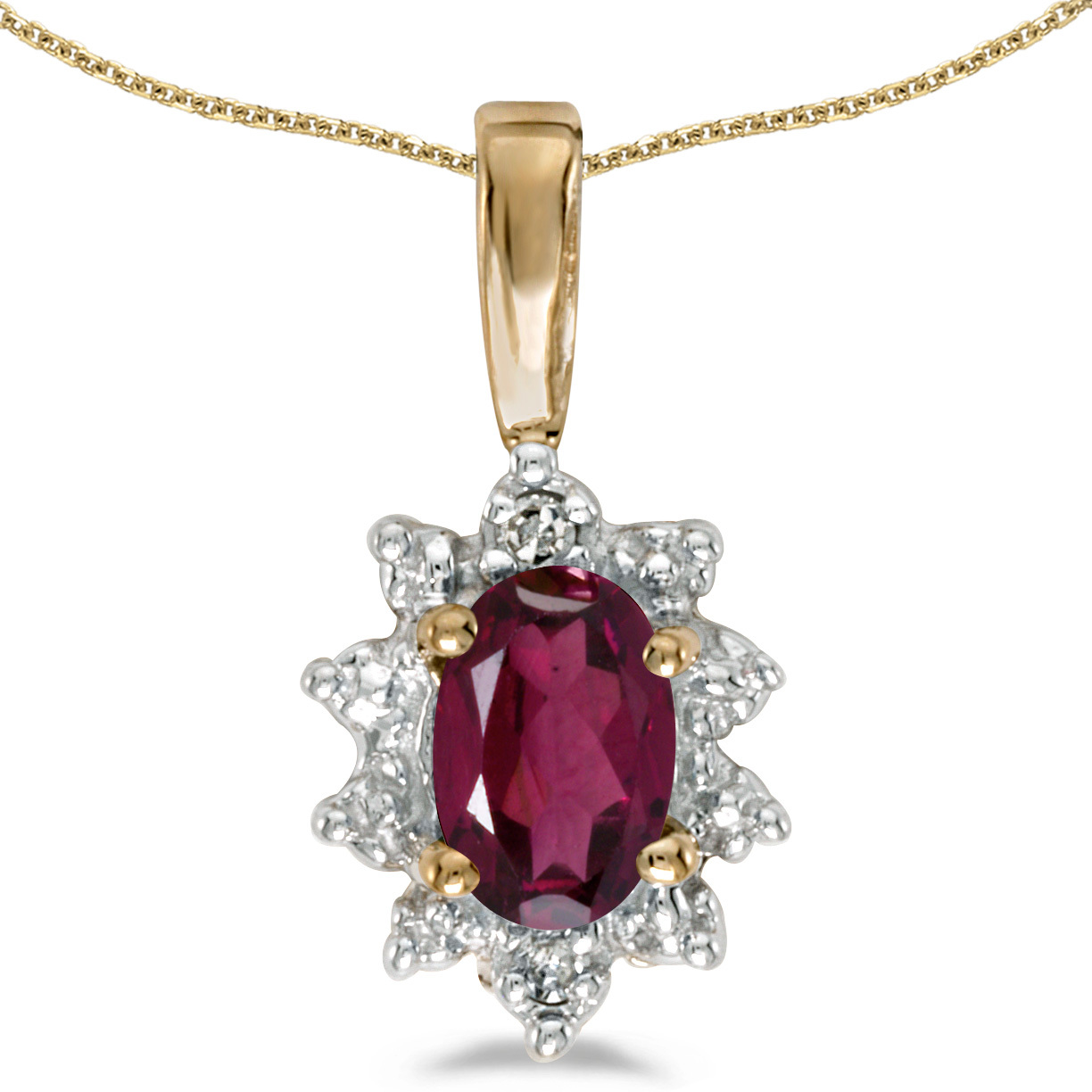 10k Yellow Gold Oval Rhodolite Garnet And Diamond Pendant (Chain NOT included) (CM-P5055-RG)