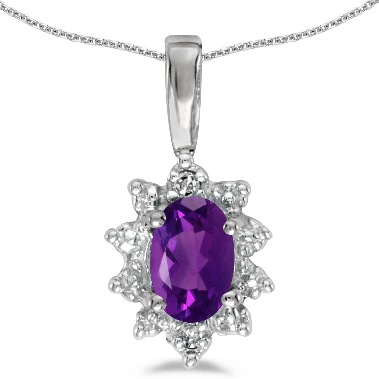 10k White Gold Oval Amethyst And Diamond Pendant (Chain NOT included) (CM-P5055W-02)