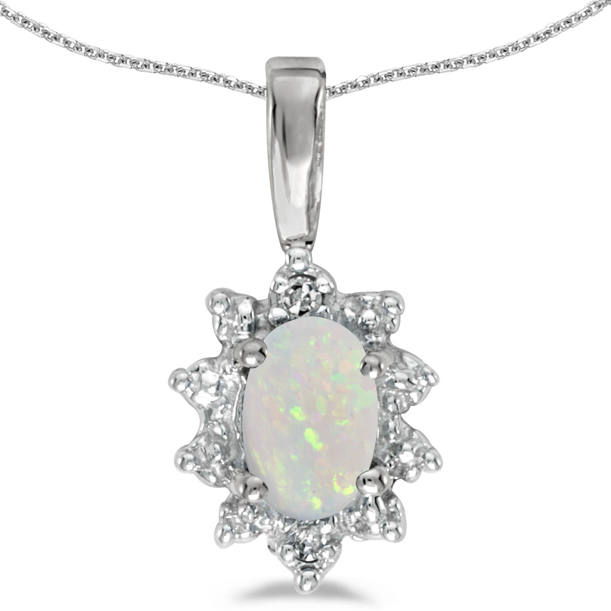 10k White Gold Oval Opal And Diamond Pendant (Chain NOT included)
