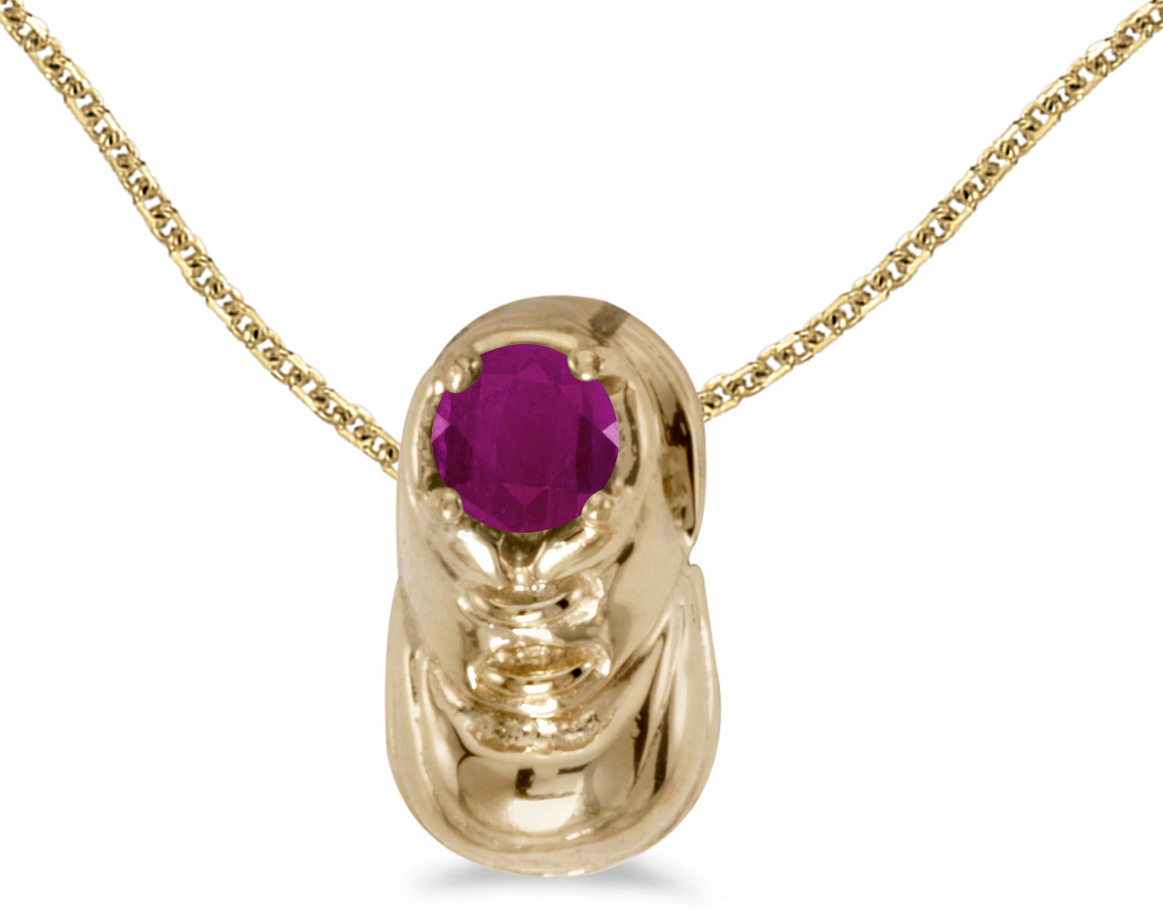 10k Yellow Gold Round Ruby Baby Bootie Pendant (Chain NOT included)