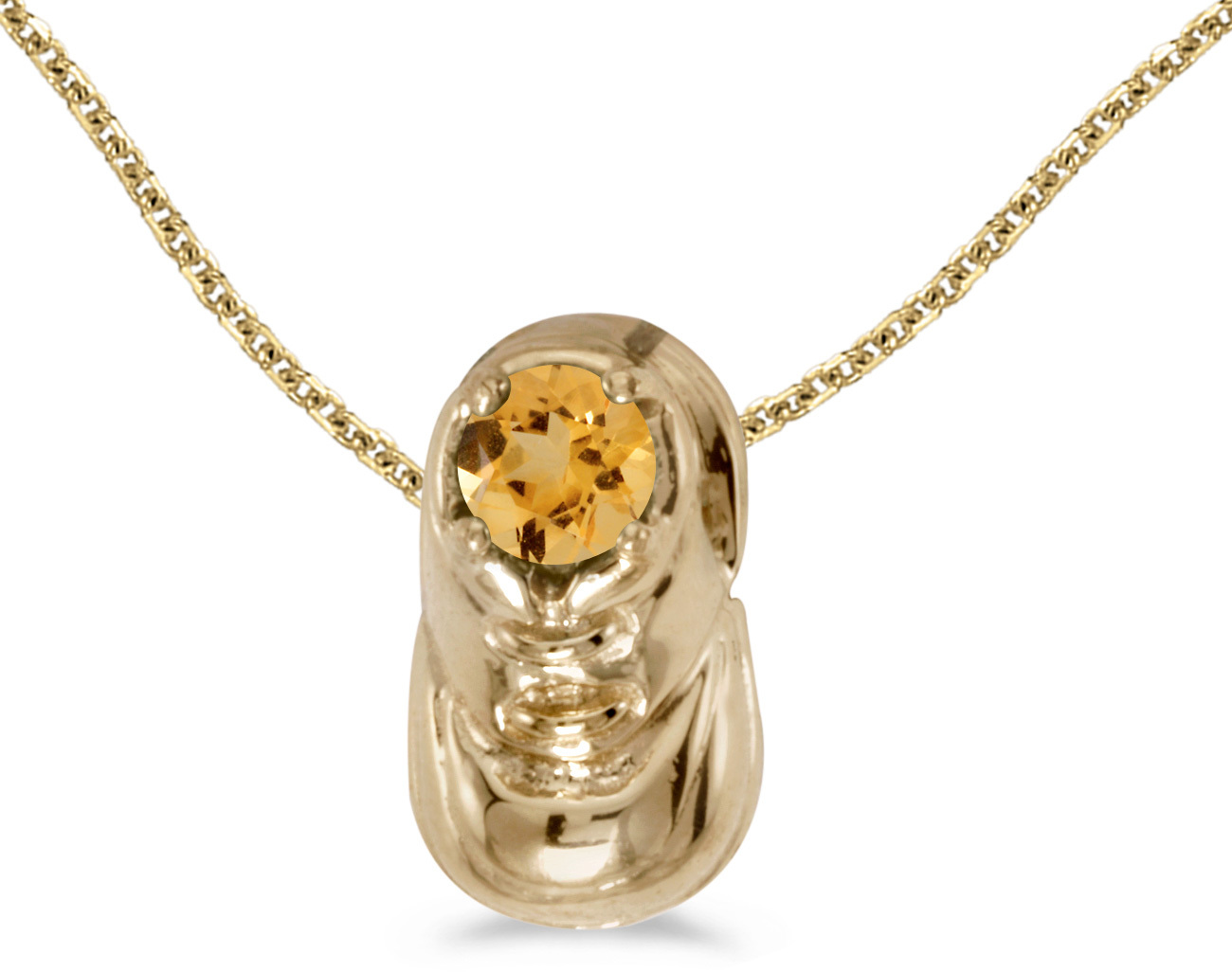 10k Yellow Gold Round Citrine Baby Bootie Pendant (Chain NOT included)