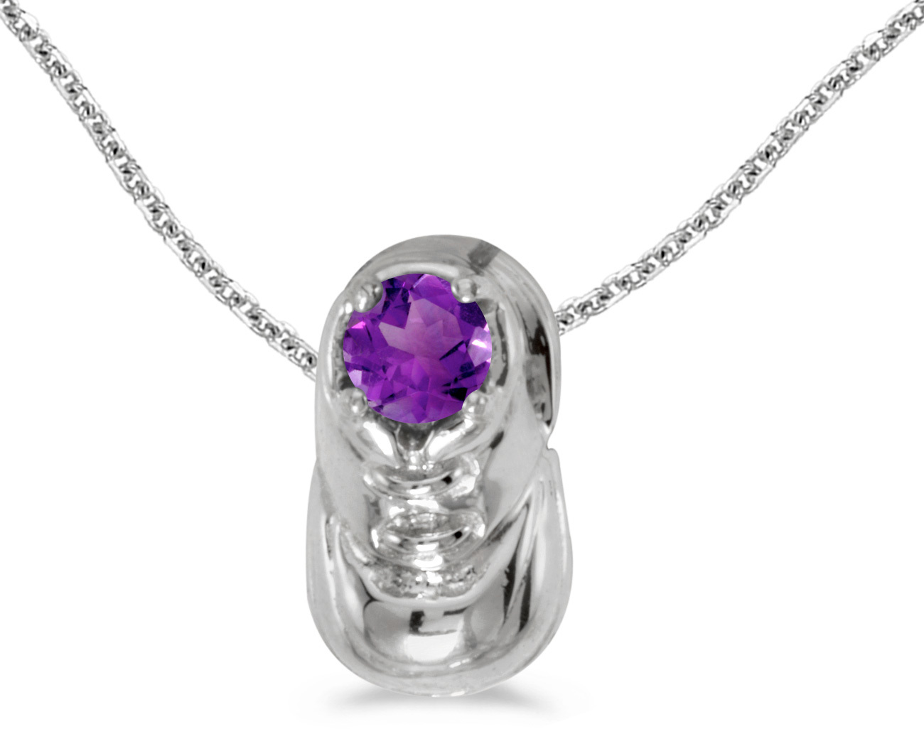 10k White Gold Round Amethyst Baby Bootie Pendant (Chain NOT included)