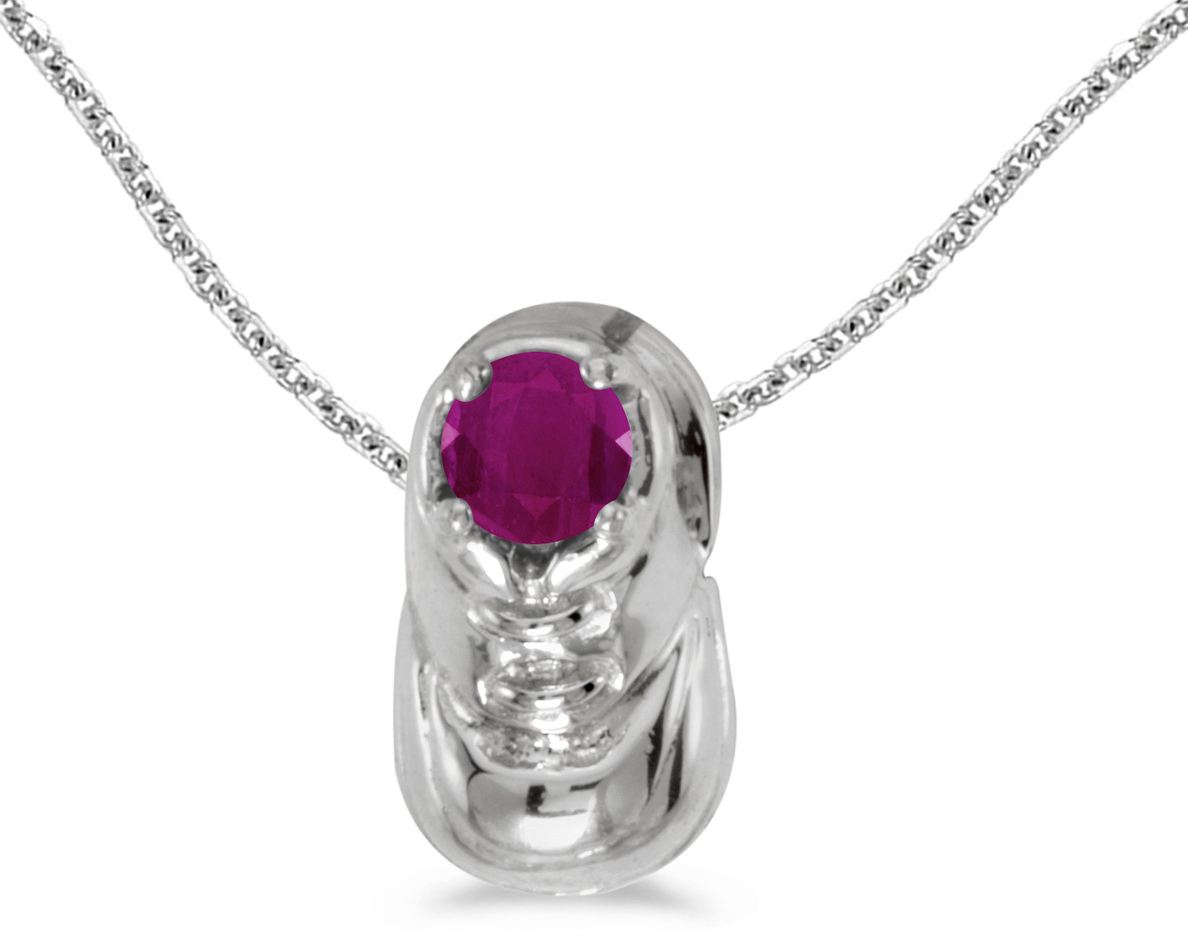 10k White Gold Round Ruby Baby Bootie Pendant (Chain NOT included)