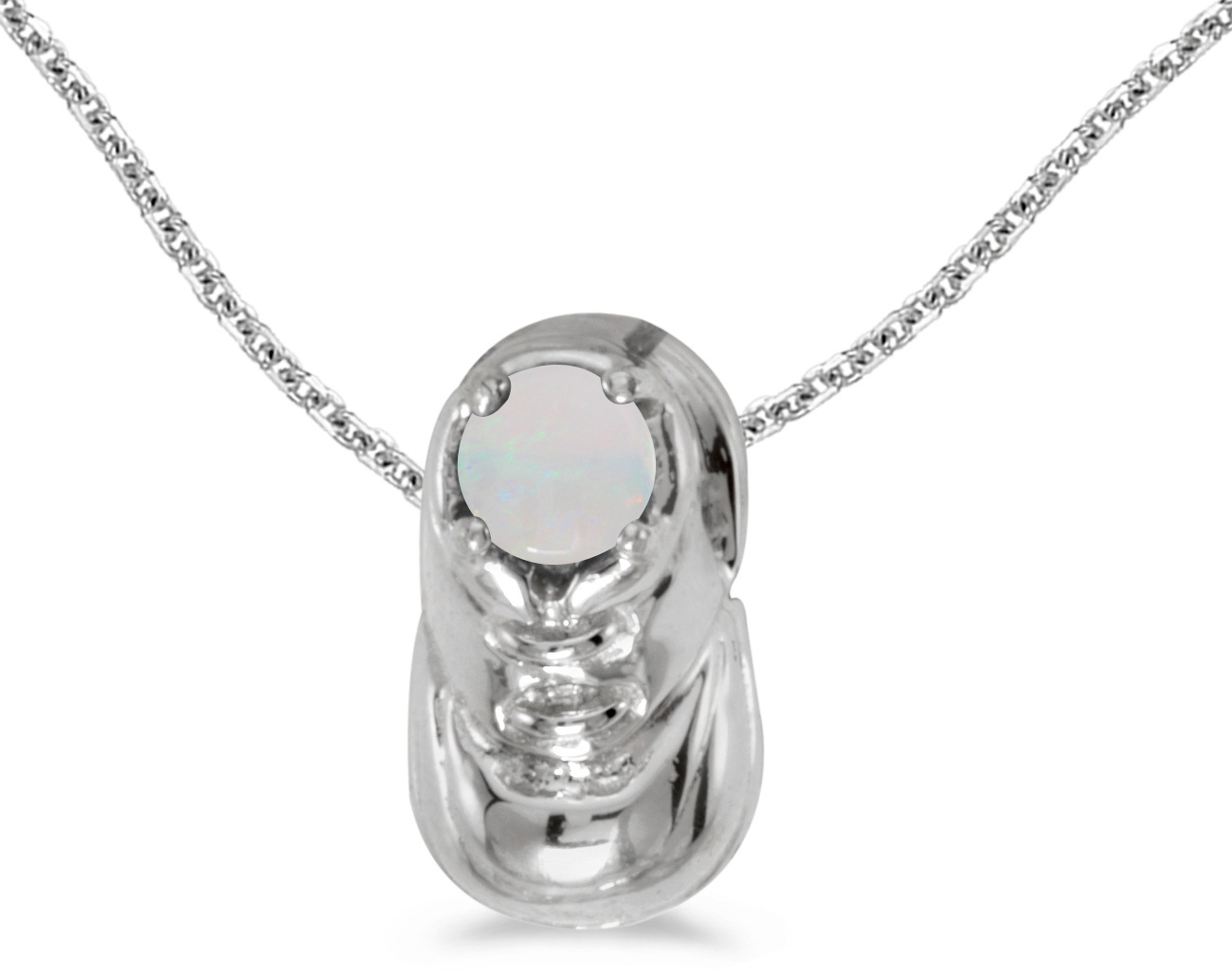 10k White Gold Round Opal Baby Bootie Pendant (Chain NOT included)