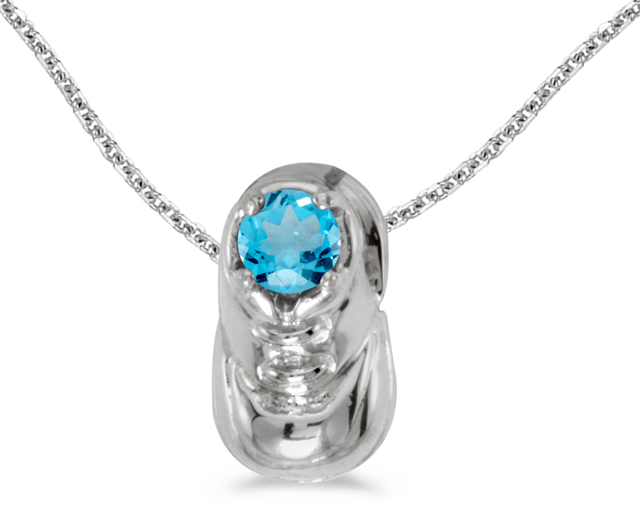 10k White Gold Round Blue Topaz Baby Bootie Pendant (Chain NOT included)