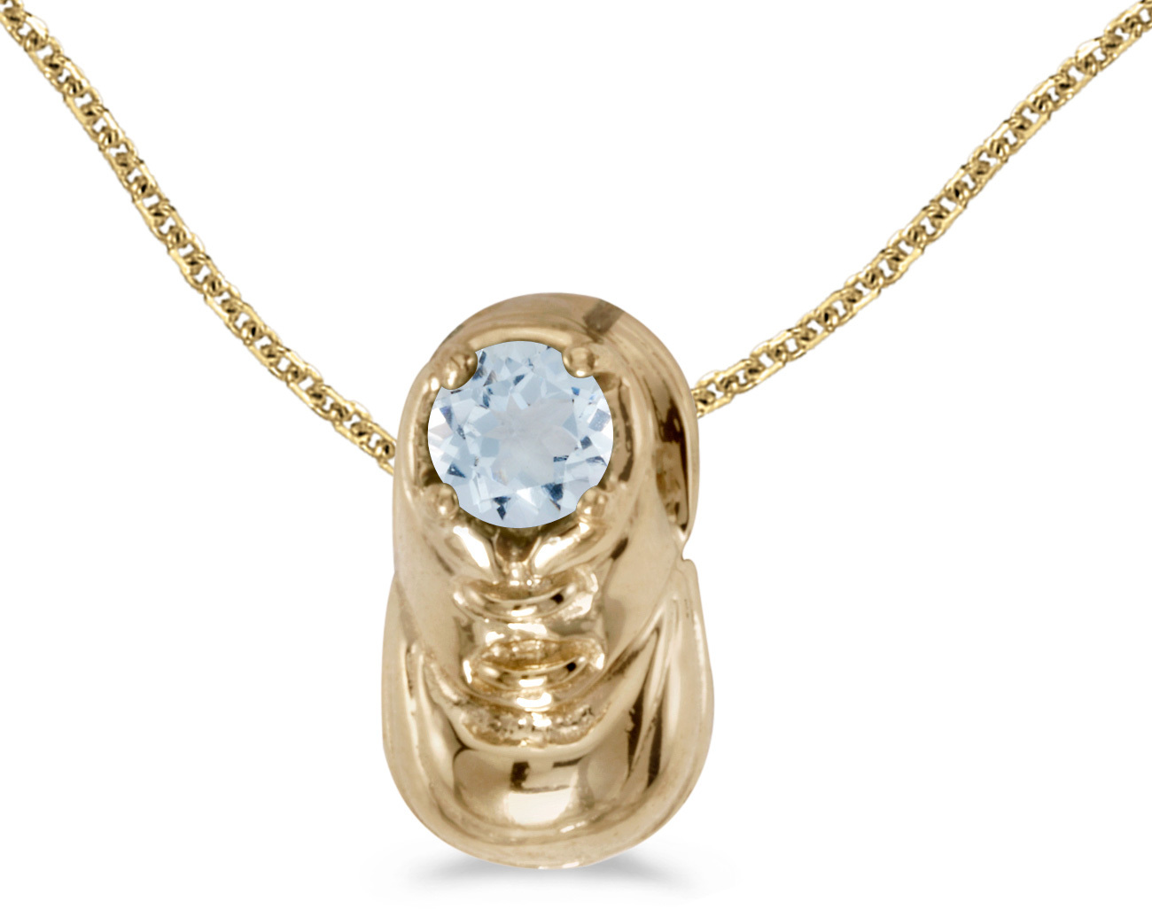 14k Yellow Gold Round Aquamarine Baby Bootie Pendant (Chain NOT included)