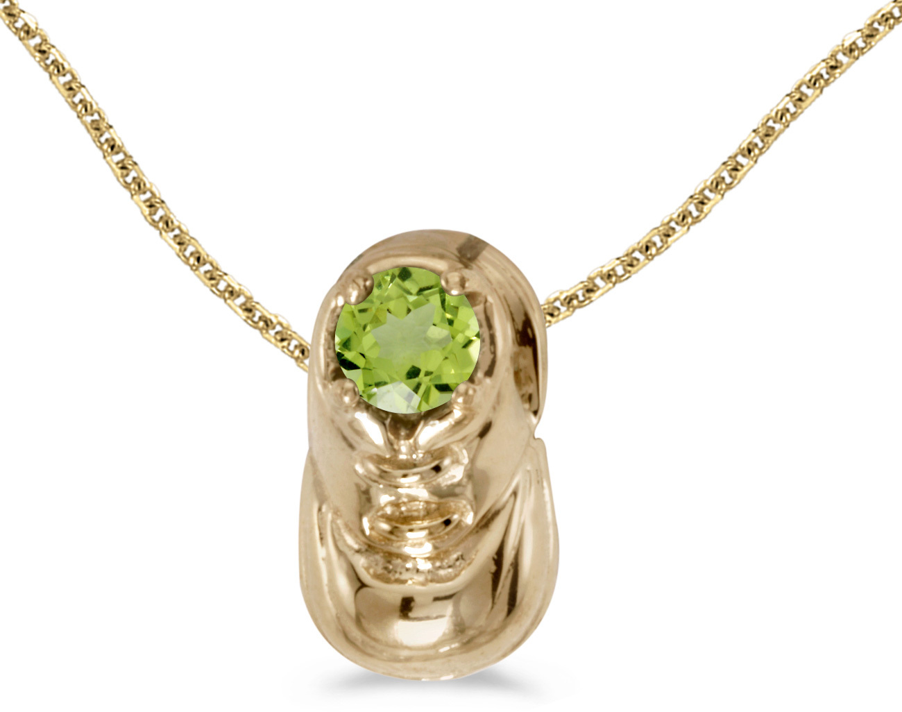 14k Yellow Gold Round Peridot Baby Bootie Pendant (Chain NOT included)