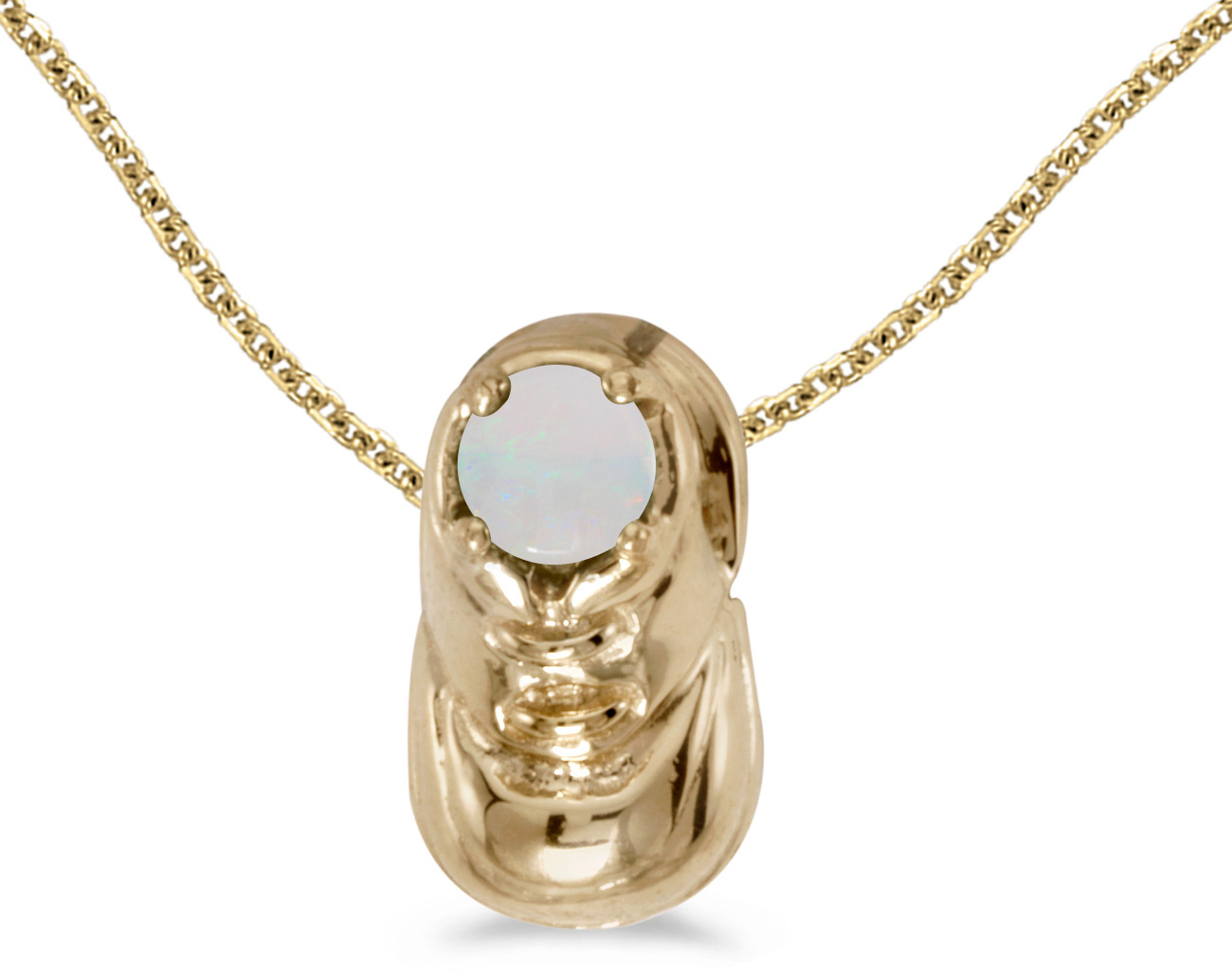 14k Yellow Gold Round Opal Baby Bootie Pendant (Chain NOT included)
