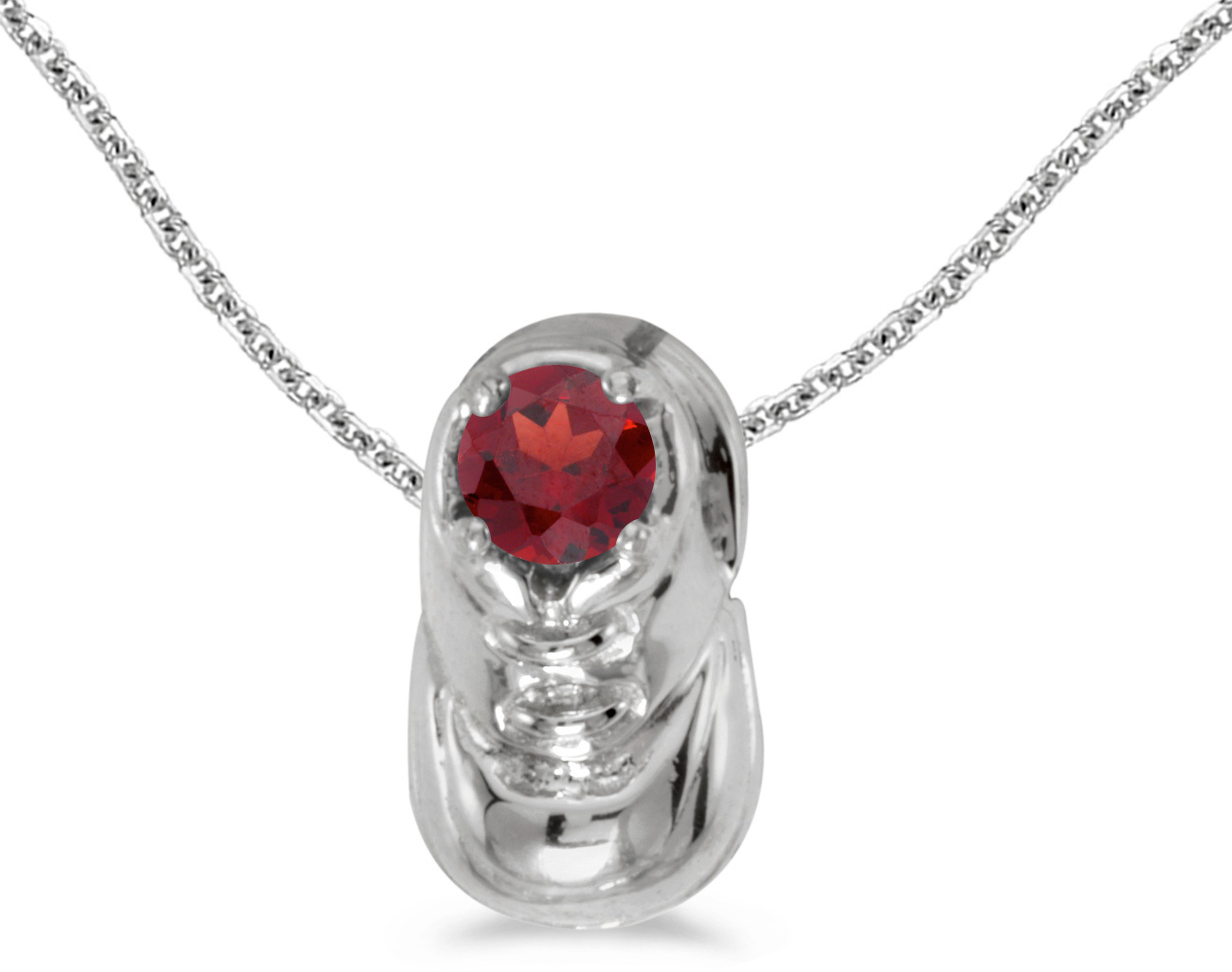 14k White Gold Round Garnet Baby Bootie Pendant (Chain NOT included)