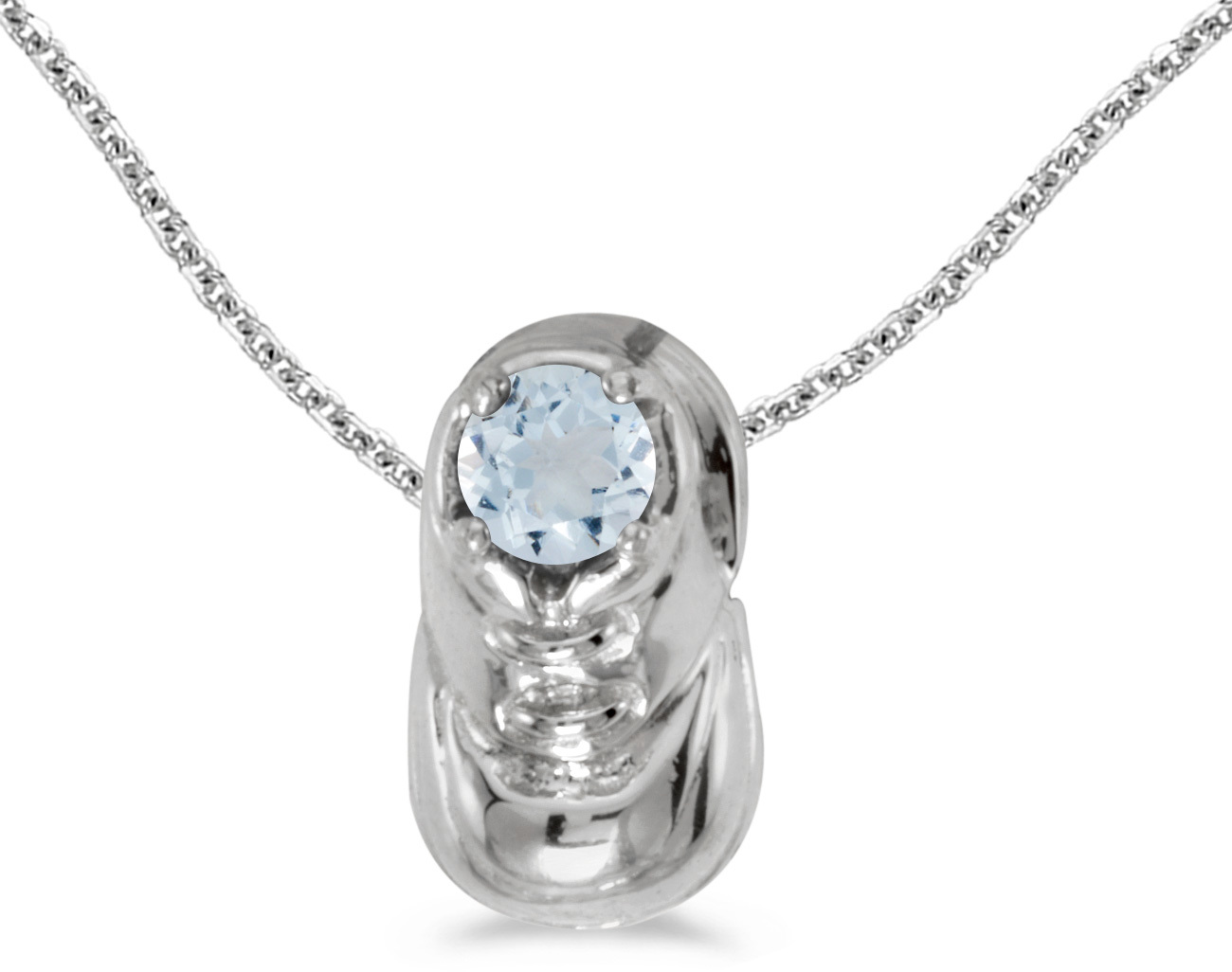 14k White Gold Round Aquamarine Baby Bootie Pendant (Chain NOT included)