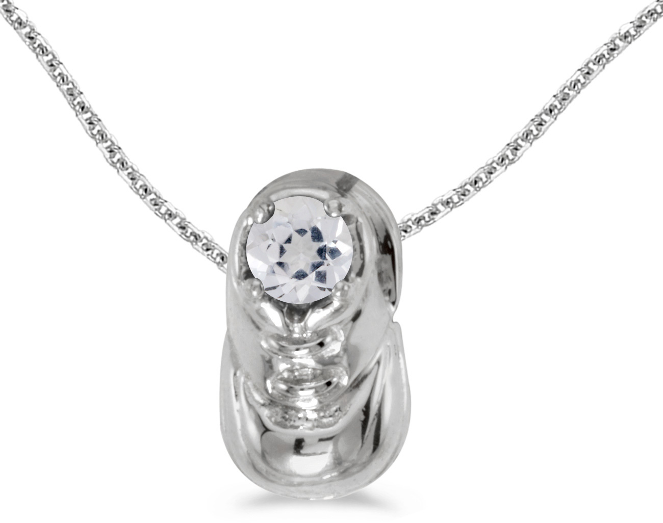 14k White Gold Round White Topaz Baby Bootie Pendant (Chain NOT included)
