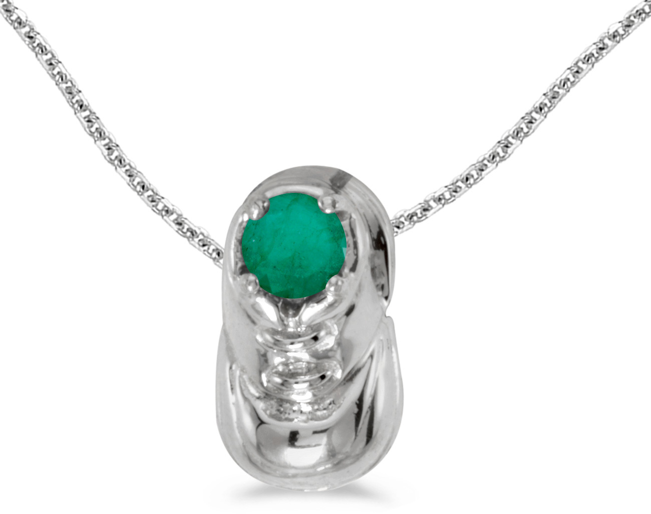 14k White Gold Round Emerald Baby Bootie Pendant (Chain NOT included)
