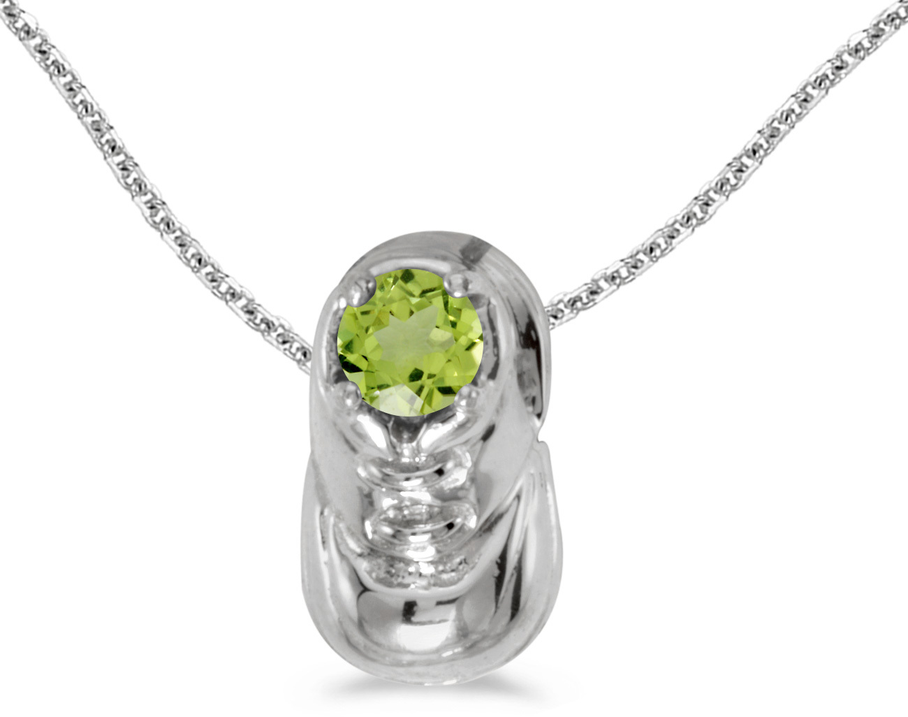 14k White Gold Round Peridot Baby Bootie Pendant (Chain NOT included)