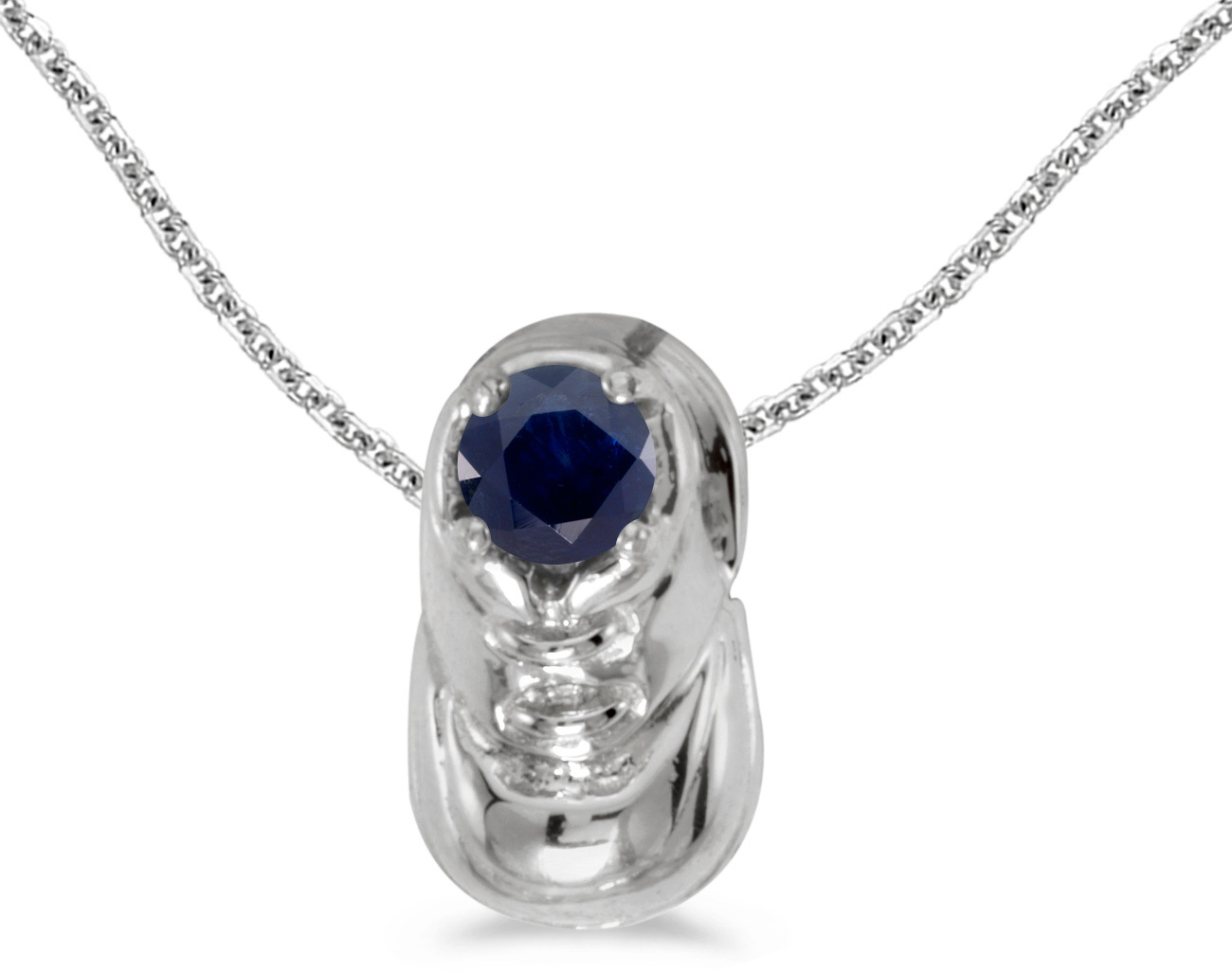 14k White Gold Round Sapphire Baby Bootie Pendant (Chain NOT included)