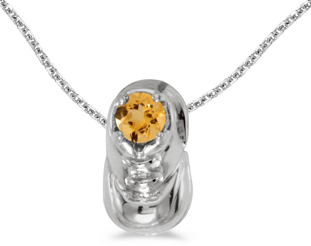 14k White Gold Round Citrine Baby Bootie Pendant (Chain NOT included)