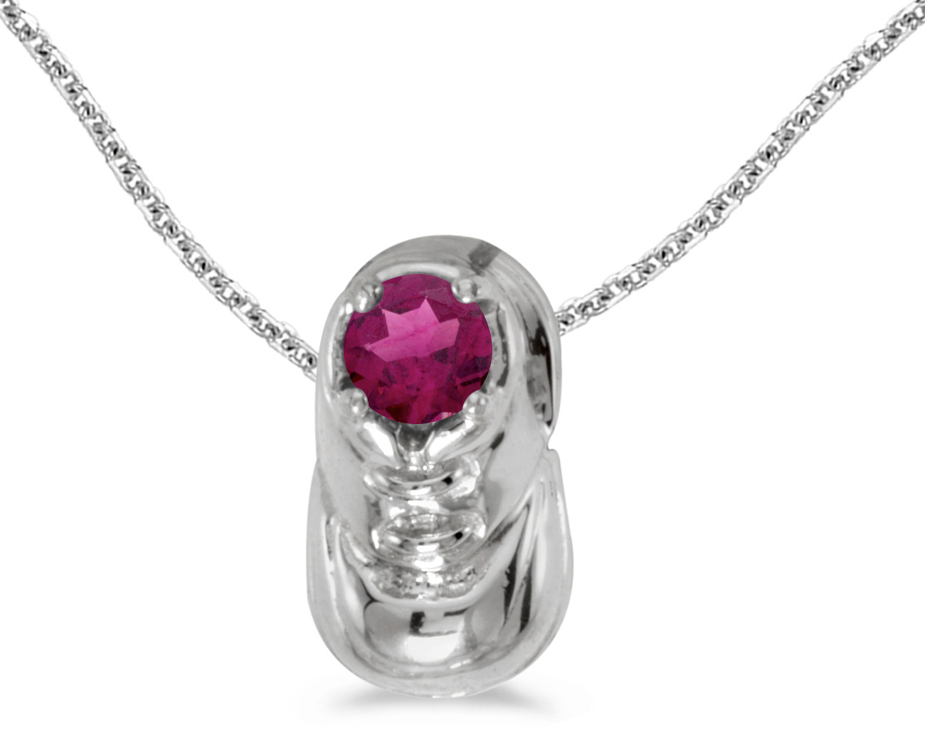 14k White Gold Round Rhodolite Garnet Baby Bootie Pendant (Chain NOT included)
