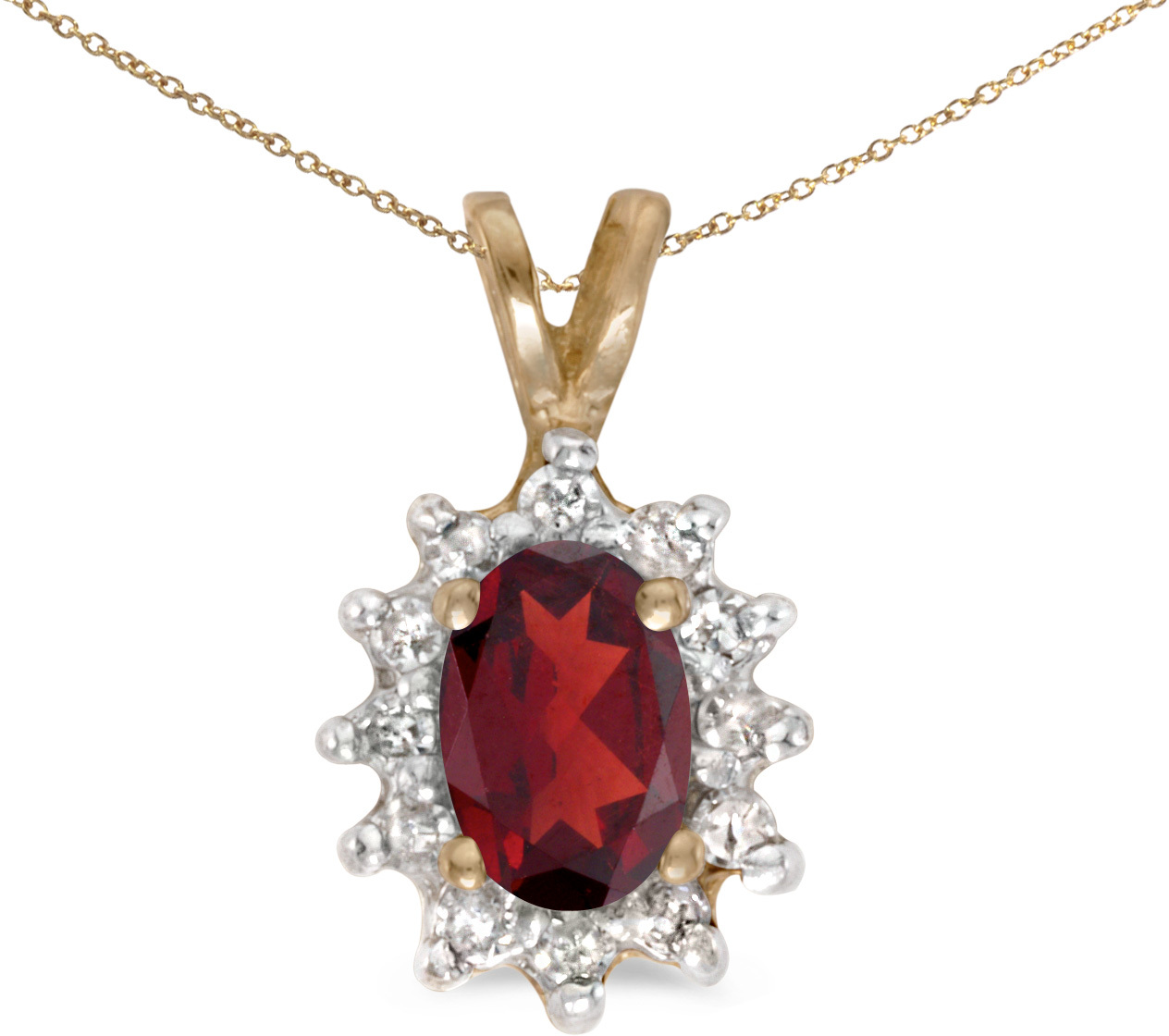 10k Yellow Gold Oval Garnet And Diamond Pendant (Chain NOT included)