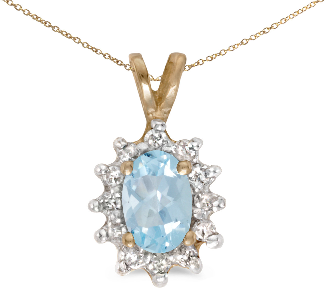 14k Yellow Gold Oval Aquamarine And Diamond Pendant (Chain NOT included) (CM-P6410X-03)