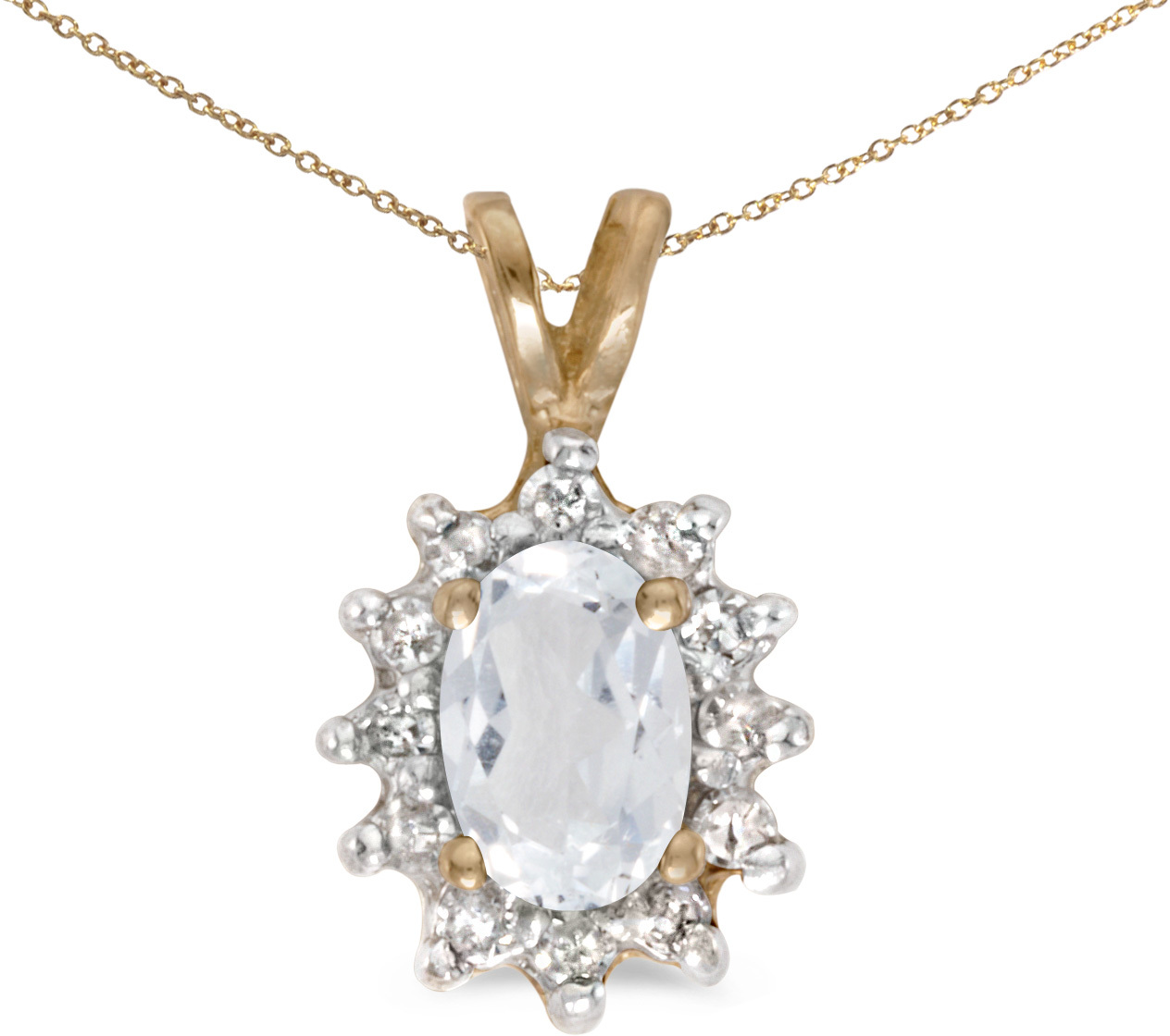 14k Yellow Gold Oval White Topaz And Diamond Pendant (Chain NOT included) (CM-P6410X-04)