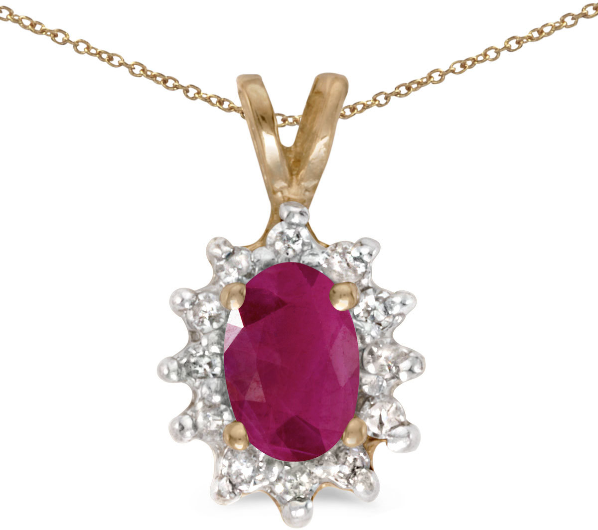 14k Yellow Gold Oval Ruby And Diamond Pendant (Chain NOT included) (CM-P6410X-07)