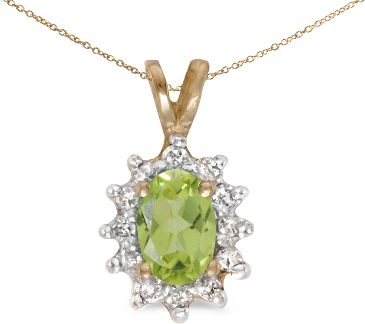 14k Yellow Gold Oval Peridot And Diamond Pendant (Chain NOT included) (CM-P6410X-08)