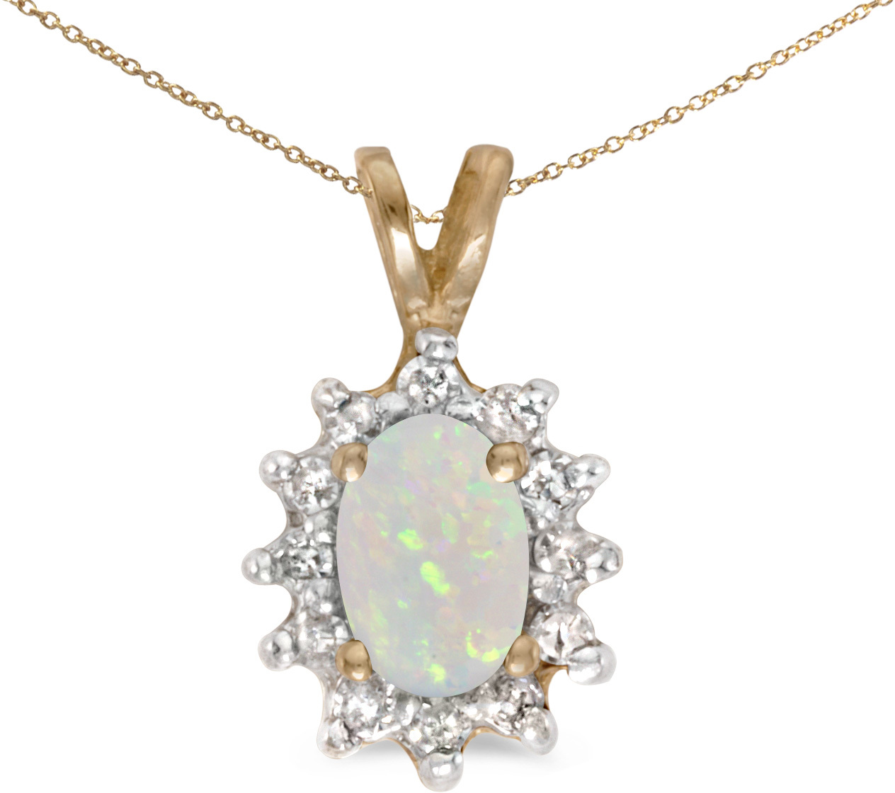 14k Yellow Gold Oval Opal And Diamond Pendant (Chain NOT included) (CM-P6410X-10)