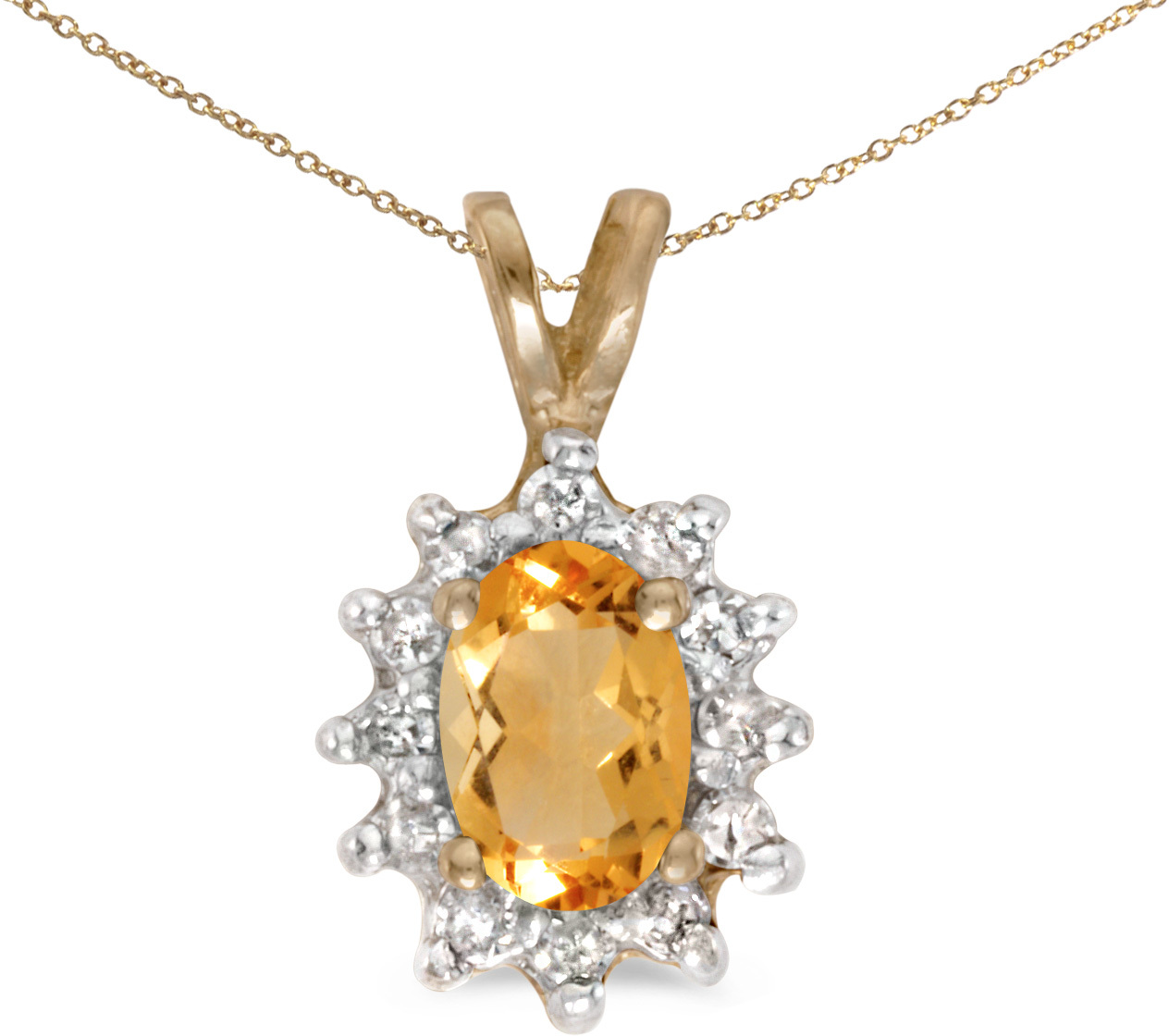 10k Yellow Gold Oval Citrine And Diamond Pendant (Chain NOT included)
