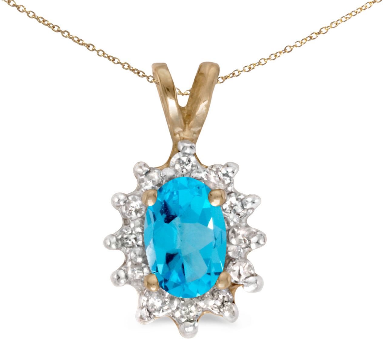 10k Yellow Gold Oval Blue Topaz And Diamond Pendant (Chain NOT included)
