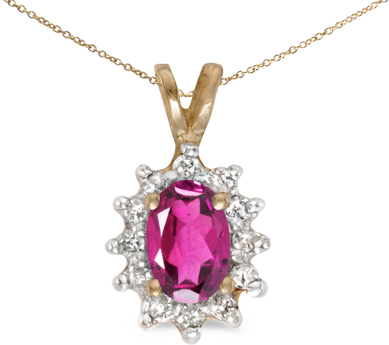 10k Yellow Gold Oval Pink Topaz And Diamond Pendant (Chain NOT included)