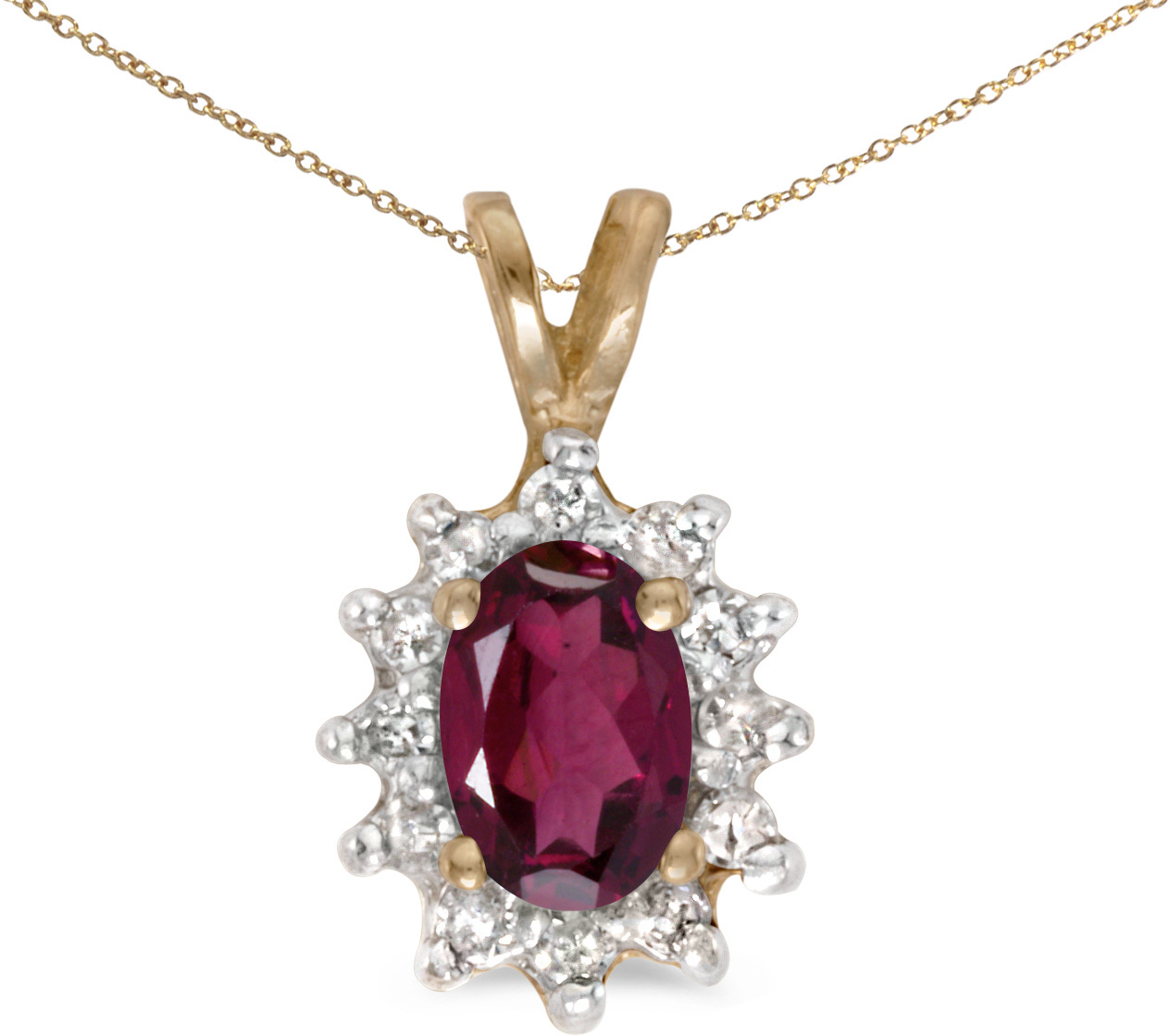 14k Yellow Gold Oval Rhodolite Garnet And Diamond Pendant (Chain NOT included) (CM-P6410X-RG)