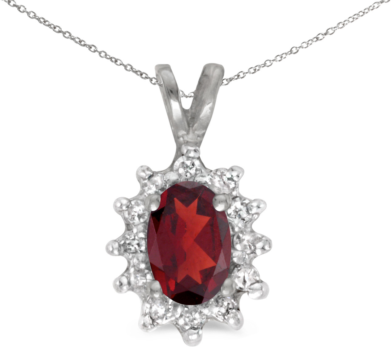 14k White Gold Oval Garnet And Diamond Pendant (Chain NOT included) (CM-P6410XW-01)