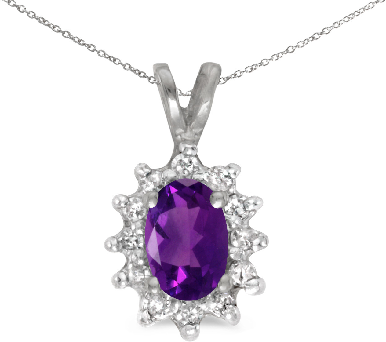 14k White Gold Oval Amethyst And Diamond Pendant (Chain NOT included) (CM-P6410XW-02)
