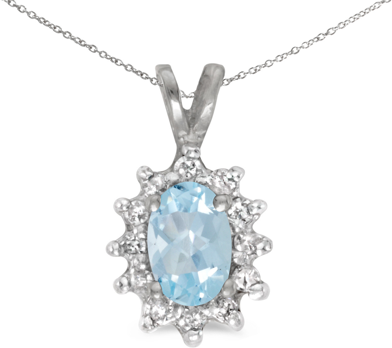 10k White Gold Oval Aquamarine And Diamond Pendant (Chain NOT included)