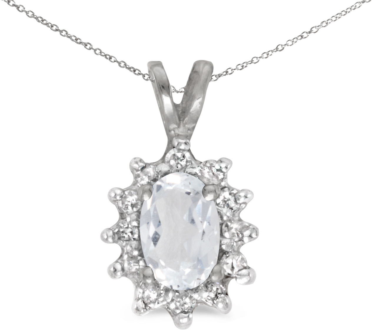 10k White Gold Oval White Topaz And Diamond Pendant (Chain NOT included)