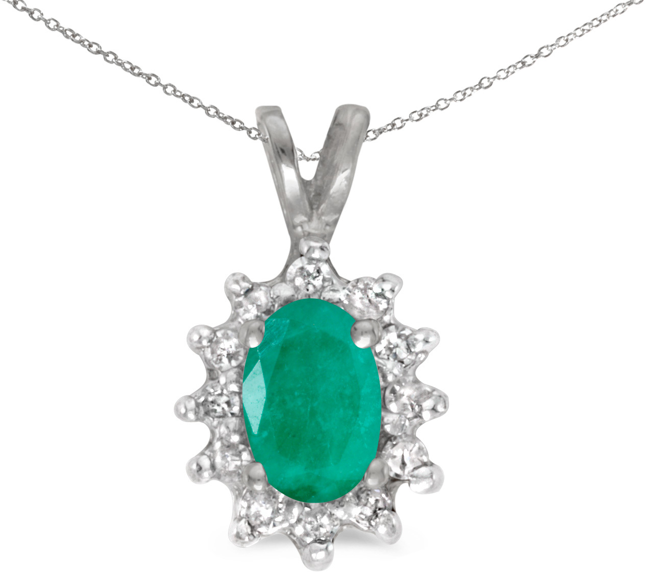 14k White Gold Oval Emerald And Diamond Pendant (Chain NOT included) (CM-P6410XW-05)