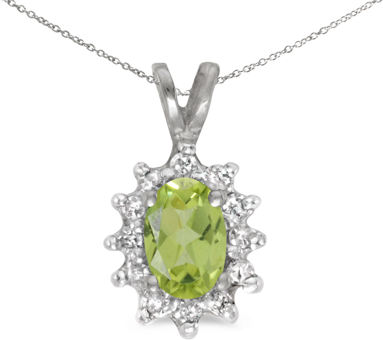 10k White Gold Oval Peridot And Diamond Pendant (Chain NOT included) (CM-P6410W-08)