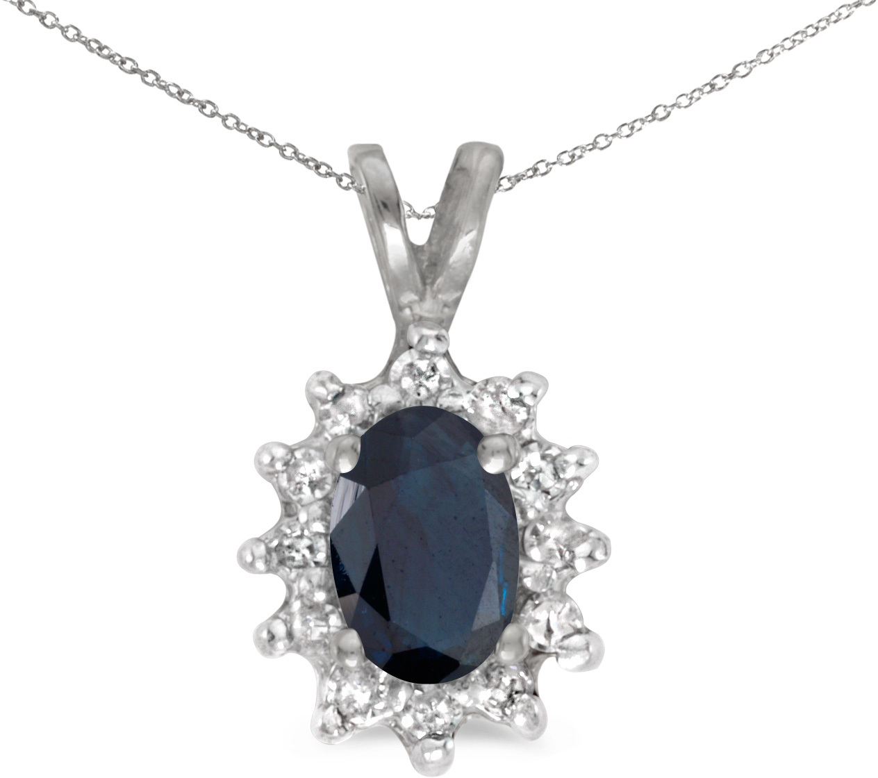 14k White Gold Oval Sapphire And Diamond Pendant (Chain NOT included) (CM-P6410XW-09)