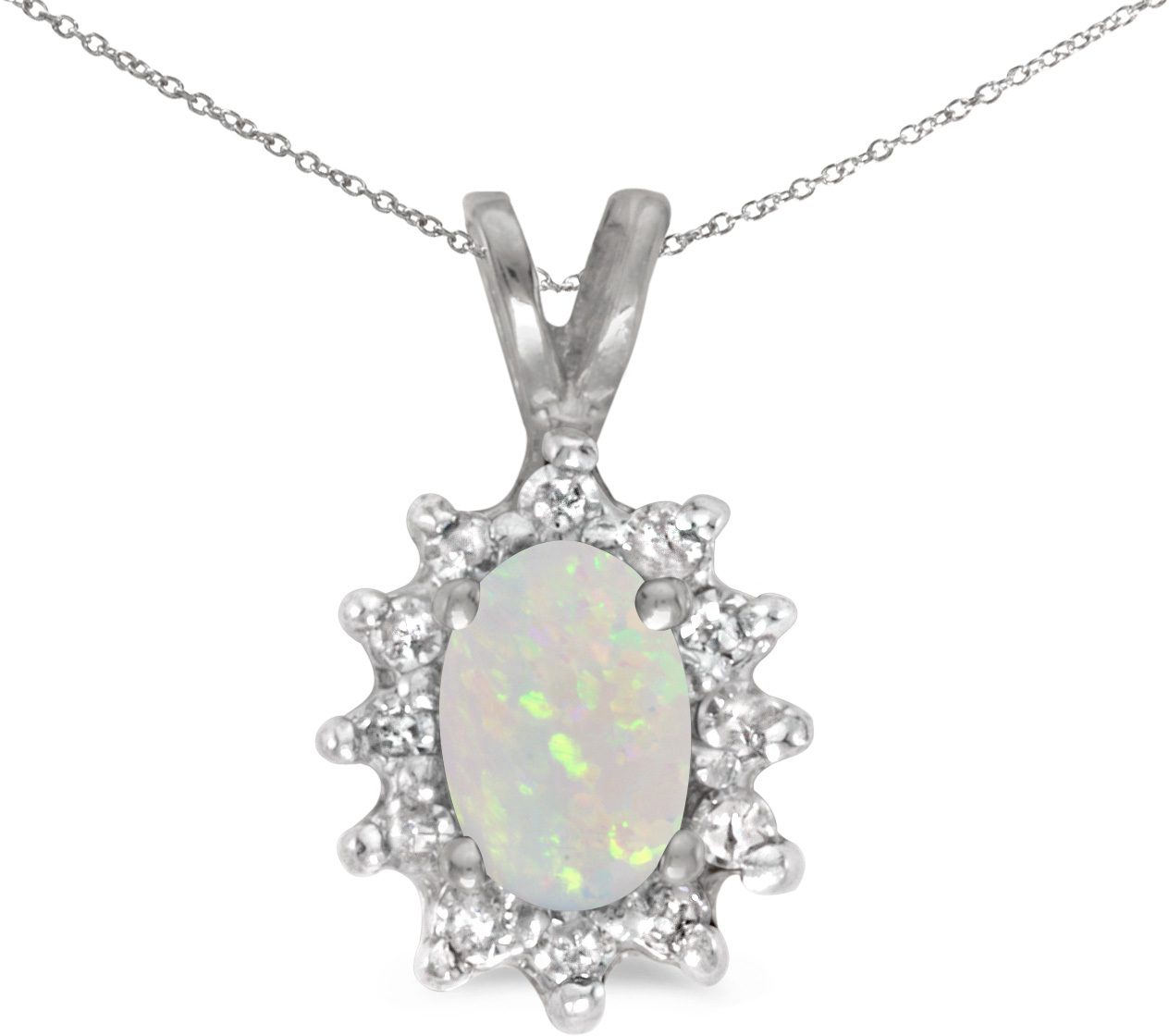 14k White Gold Oval Opal And Diamond Pendant (Chain NOT included) (CM-P6410XW-10)