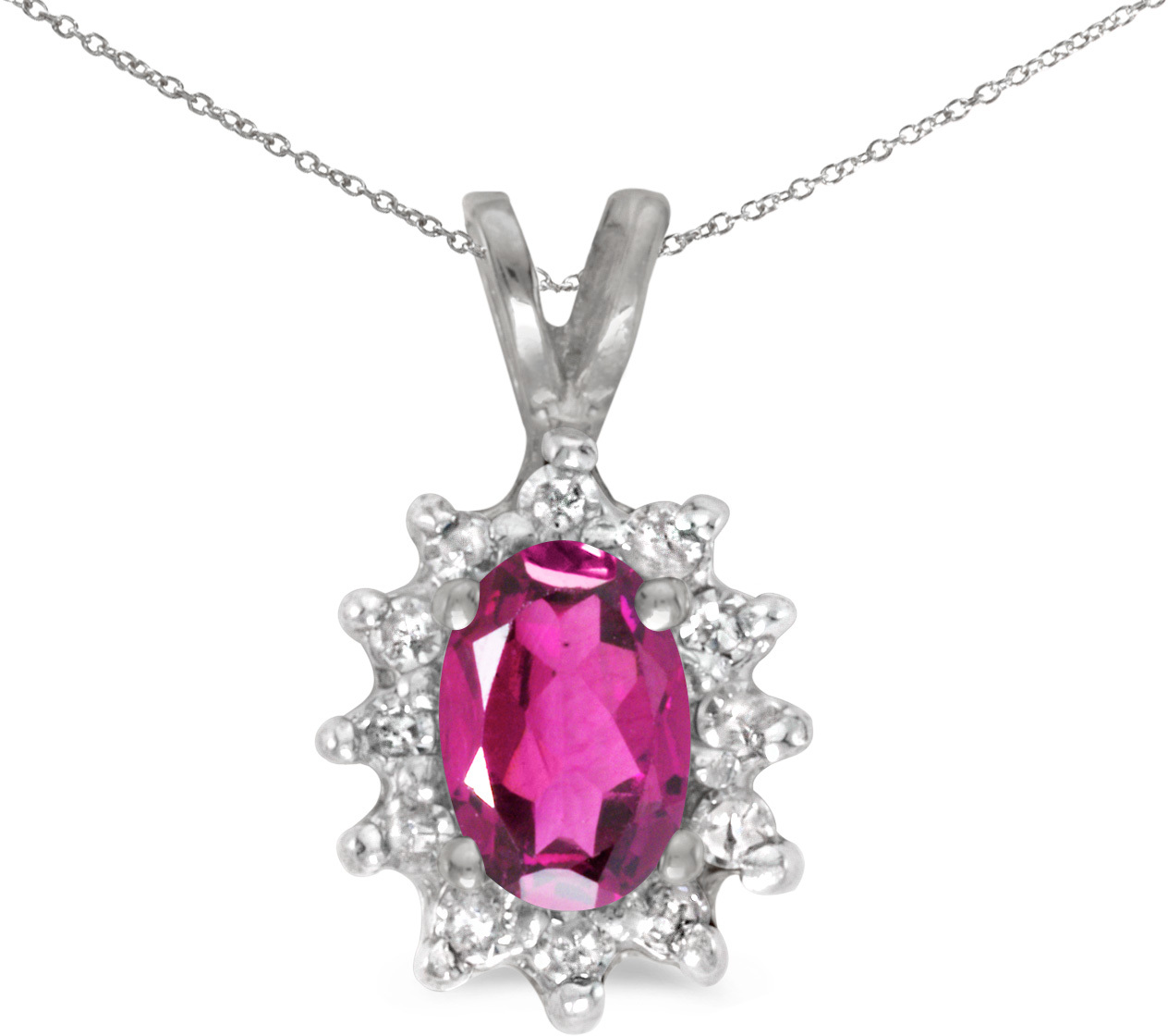 14k White Gold Oval Pink Topaz And Diamond Pendant (Chain NOT included) (CM-P6410XW-PT)