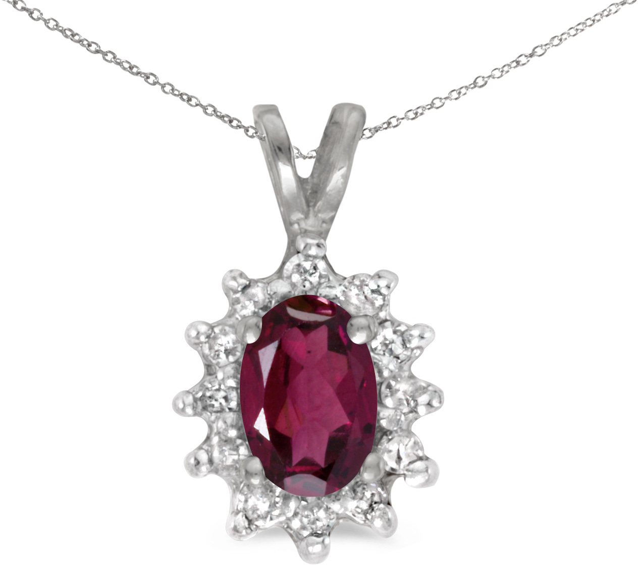 14k White Gold Oval Rhodolite Garnet And Diamond Pendant (Chain NOT included) (CM-P6410XW-RG)
