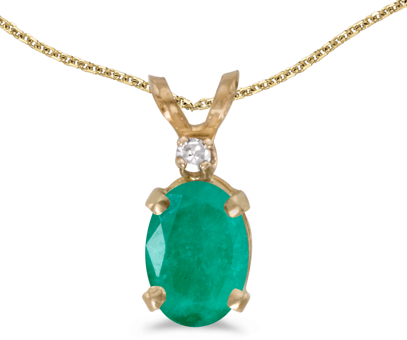 14k Yellow Gold Oval Emerald And Diamond Pendant (Chain NOT included) (CM-P6411X-05)