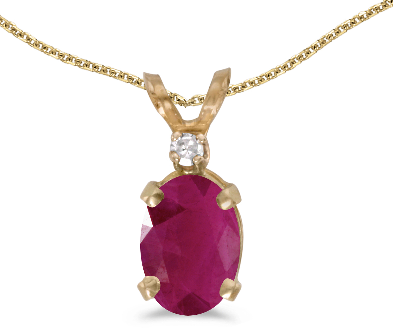 14k Yellow Gold Oval Ruby And Diamond Pendant (Chain NOT included) (CM-P6411X-07)