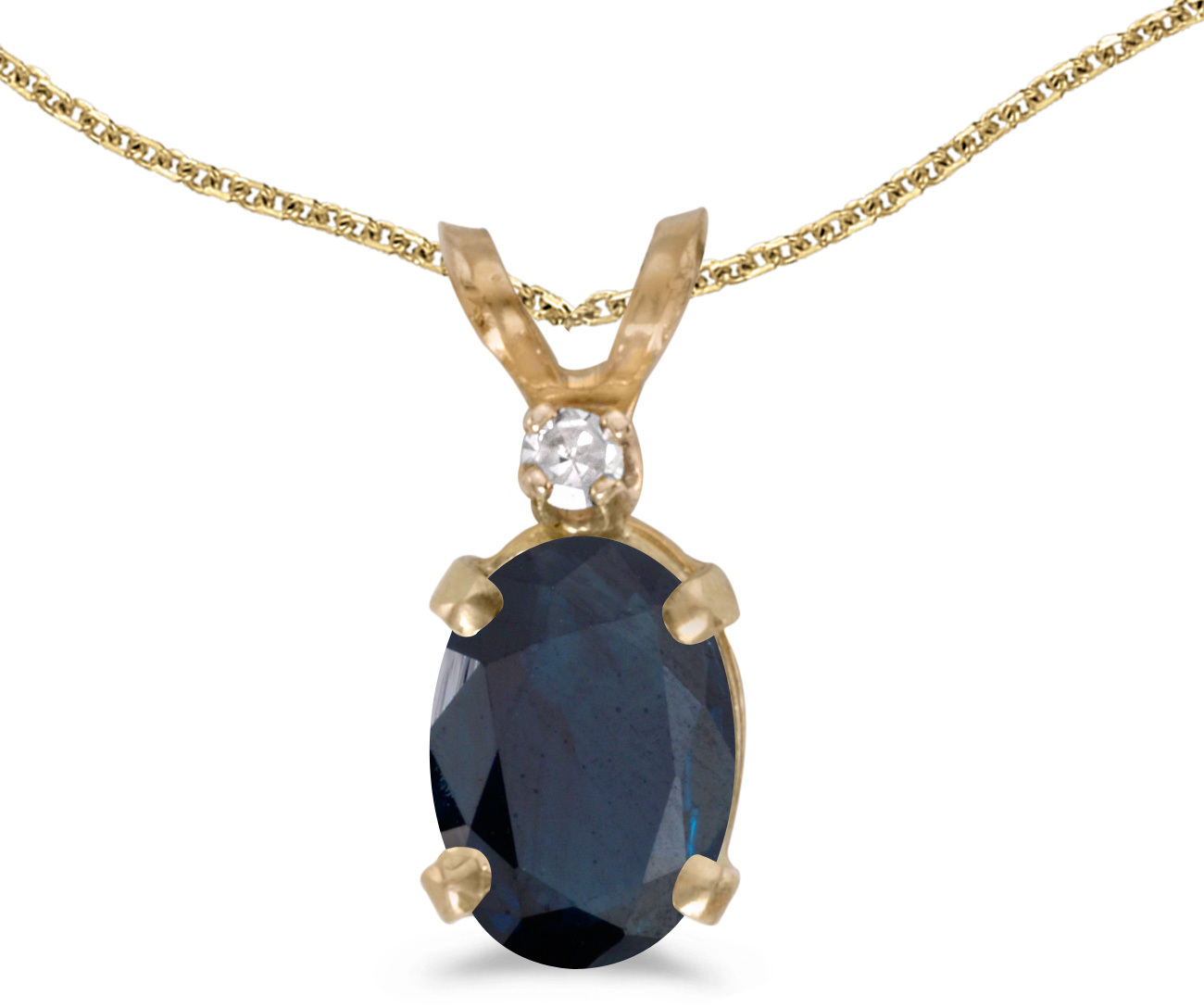 14k Yellow Gold Oval Sapphire And Diamond Pendant (Chain NOT included) (CM-P6411X-09)