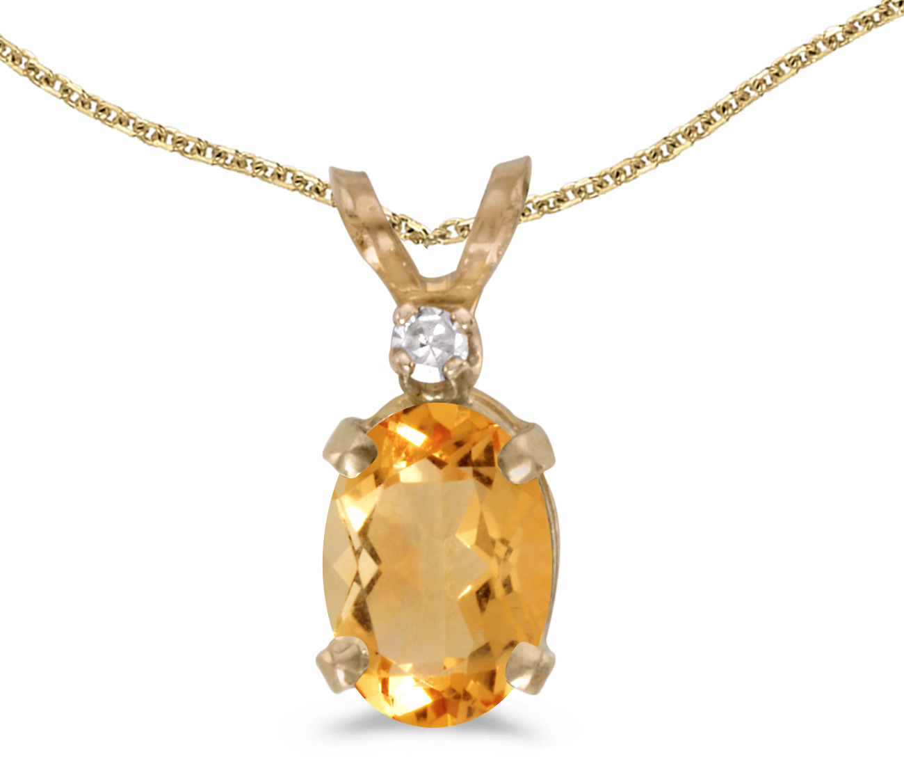 14k Yellow Gold Oval Citrine And Diamond Pendant (Chain NOT included) (CM-P6411X-11)