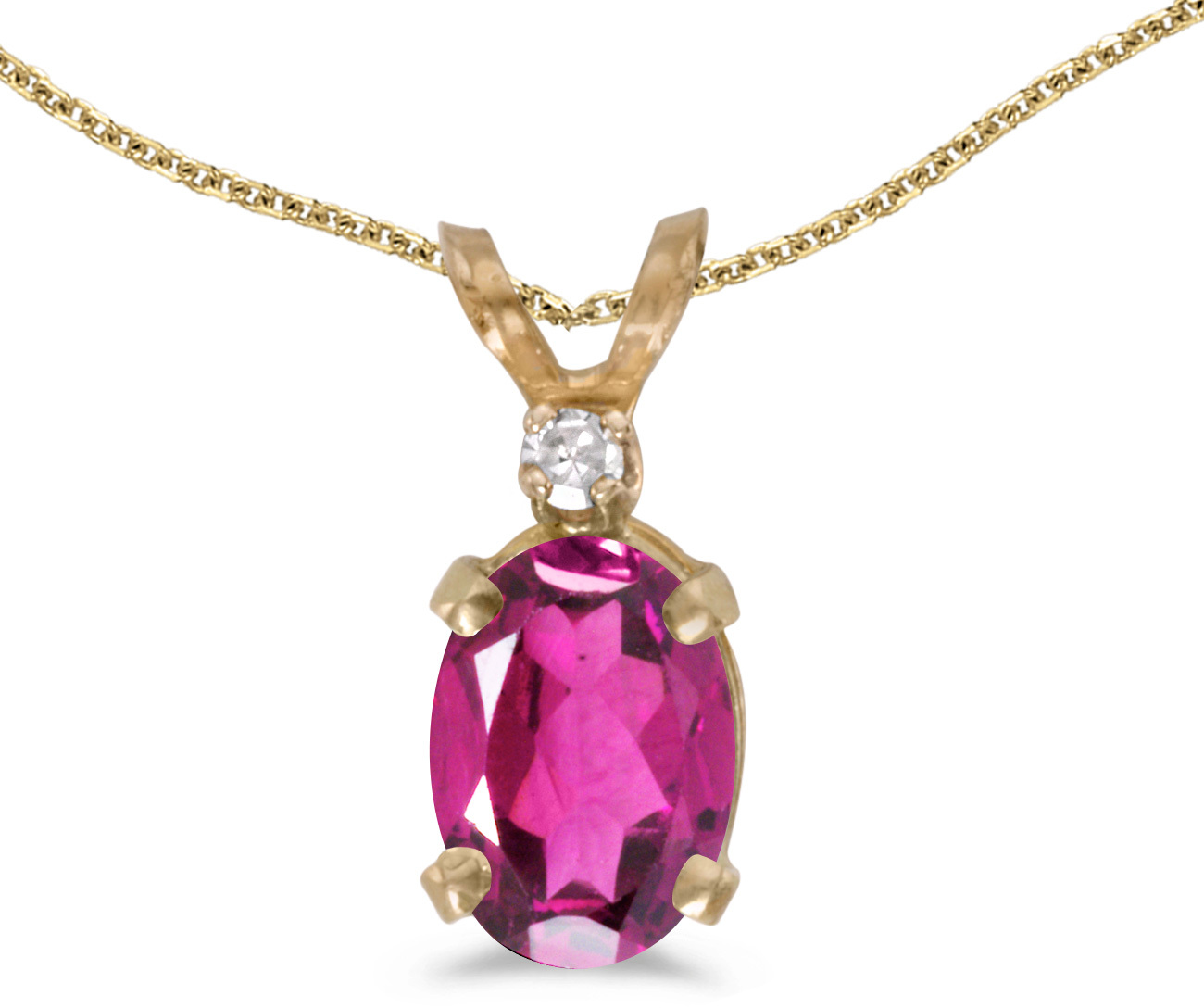 14k Yellow Gold Oval Pink Topaz And Diamond Pendant (Chain NOT included) (CM-P6411X-PT)