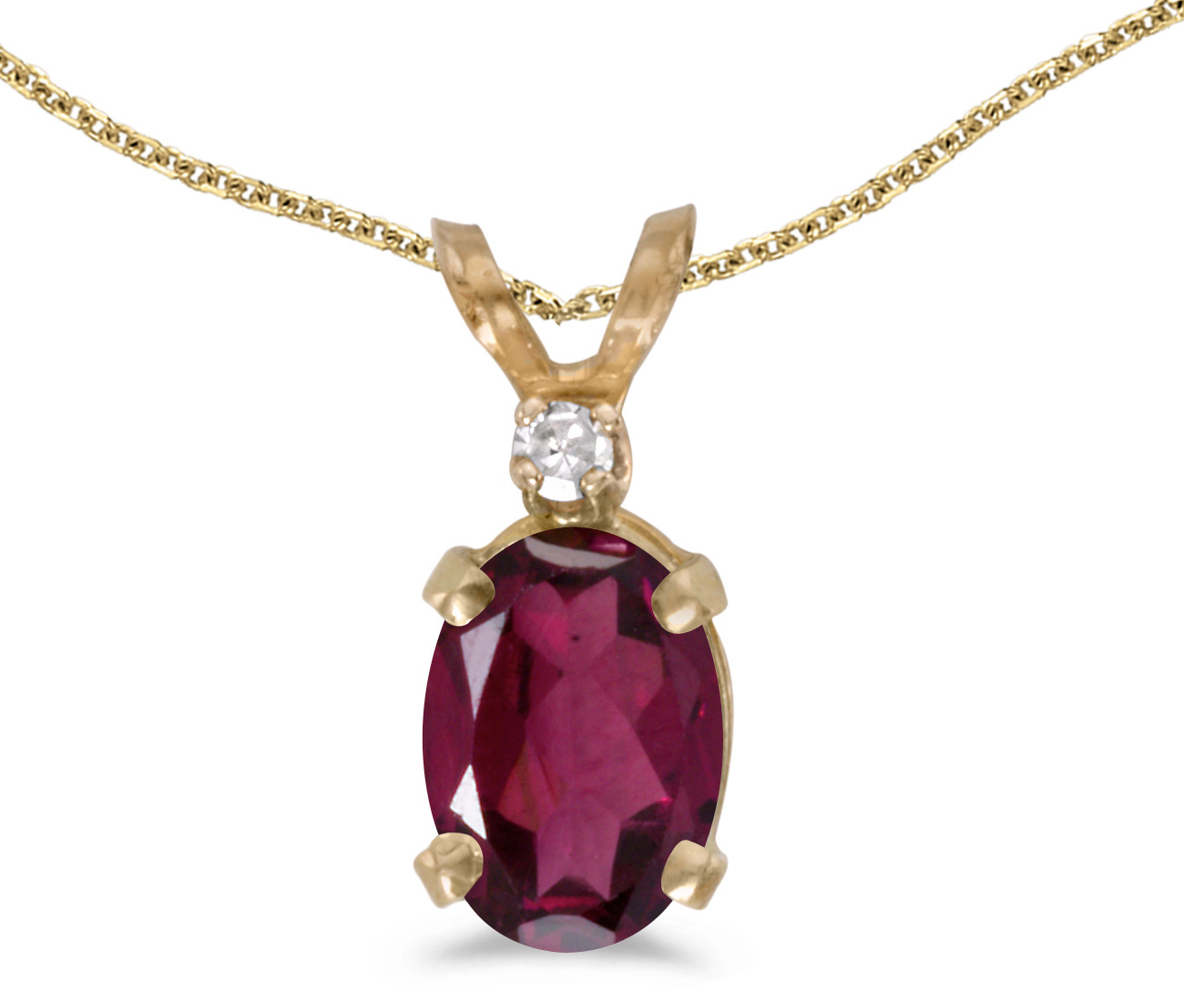 14k Yellow Gold Oval Rhodolite Garnet And Diamond Pendant (Chain NOT included) (CM-P6411X-RG)
