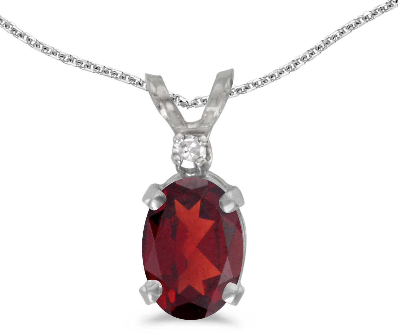 14k White Gold Oval Garnet And Diamond Pendant (Chain NOT included) (CM-P6411XW-01)